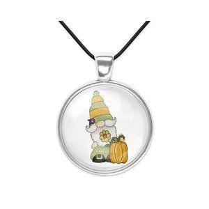 Autumn Harvest Fall Gnome Glass Pendant Necklace
